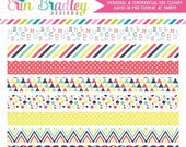 50% OFF SALE Scalloped Border Clipart with Alphabet Striped Polka Dotted Triangle and Chevron Patterns