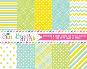 50% OFF SALE Blue Yellow Green Digital Paper Set Commercial Use Digital Backgrounds Instant Download