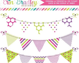 50% OFF SALE Pink Purple & Green Bunting Clipart Clip Art Commercial Use Banner Flags Instant Download