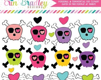 50% OFF SALE Girls Skull and Crossbones Clip Art Graphics with Hearts Commercial Use Digital Clipart
