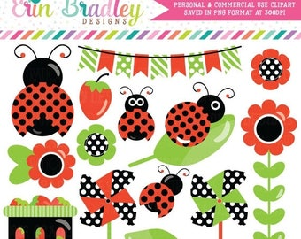 50% OFF SALE Ladybug Clipart Graphics with Strawberries Bunting Pinwheels Commercial Use Clip Art