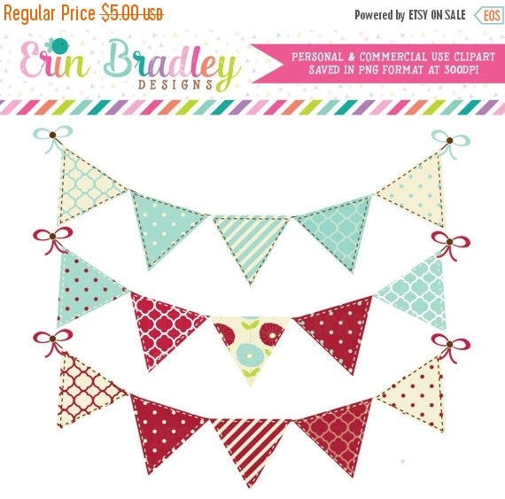 60% OFF SALE Blue Red Bunting Flags Clip Art Graphics Commercial Use Banner Clipart