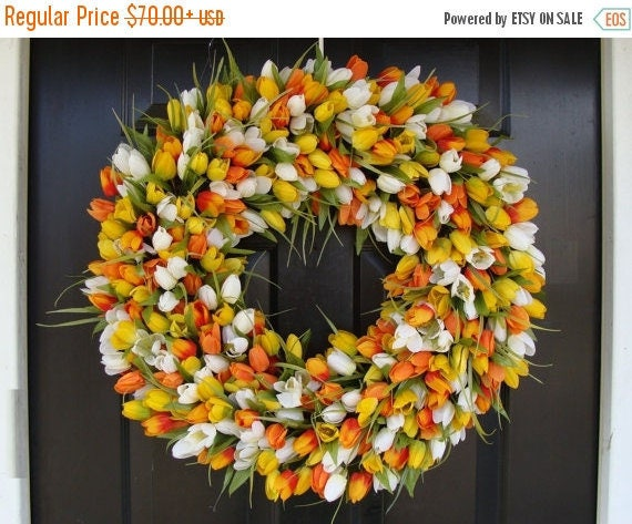 SPRING WREATH SALE Spring Decor- Mother's Day Wreath- Easter Wreath- Spring Wreath- 24 inch Extra Large Wreath, Orange Twist