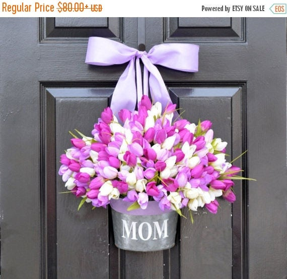 SPRING WREATH sale MOM Monogram Spring Tulip Wreath- Tulip Door Bucket Wreath Alternative- Tulip Spring Wreath- Gift for Mom- Mother's Day G