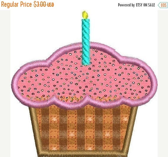 SALE 65% Off Birthday Cupcake Applique Machine Embroidery Designs 4x4 and 5x7 included Instant Download
