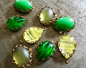 Vintage Glass Cabs and Jewels in Settings Four Pairs 18x13mm Lemon Lime Assortment