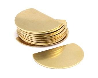 Wide Semi Circle, 6 Raw Brass Semi Circle Blanks (38x27x0.80) N459