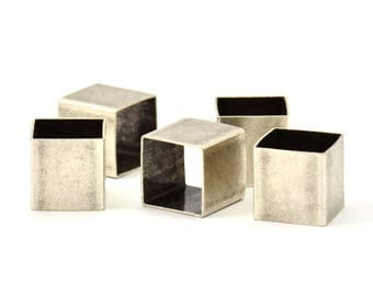 Geometric Spacer Beads, 12 Huge Antique Silver Plated Brass Square Tubes (10x10mm) Bs 1505 H106
