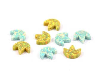Tiny Opal Lotus, Lotus Charm, 1 PC Flower Beads, Charms, (10x9mm)  L028