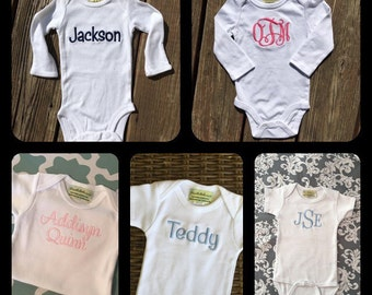 Monogrammed baby onesie. Personalized baby bodysuit. Monogrammed baby boy bodysuit.  Monogrammed Baby girl and baby body suit.
