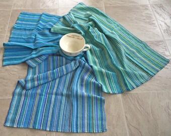 Handwoven towel, handwoven cotton towel, guest towel, OOAK towel, Spring Blues & Greens towel