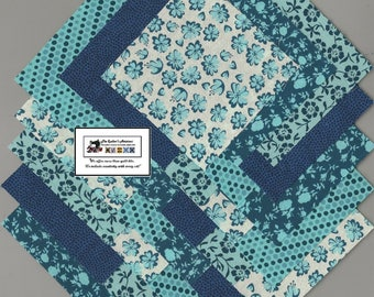 "40-4"" inch Teal Flowers-Chevrons Fabric Squares/Quilt/Craft/Sewing/Charm Packs #0909"
