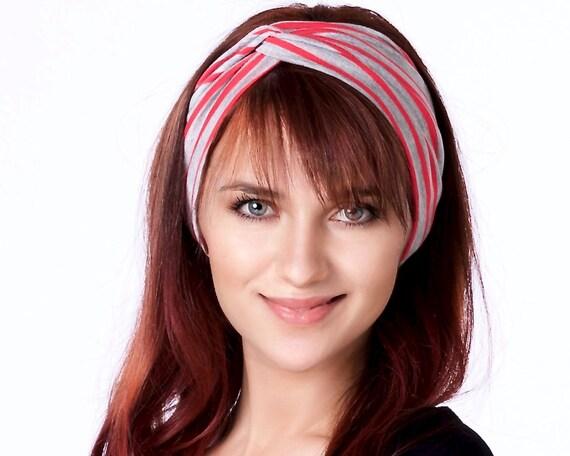 Women's Turban Headband Boho Chic Hair Accessory Ear Warmer Ear Muff Turband Gift For Her Red And Gray Stripes Yoga Headband Soft Headband