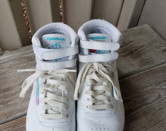 1980's White Classic Leather Freestyle Ladies Reebok High Top  Tennis Shoes size 6