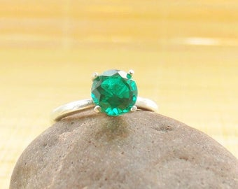 Emerald Ring Sterling Silver May Birthstone Ready to ship size 5 On Sale