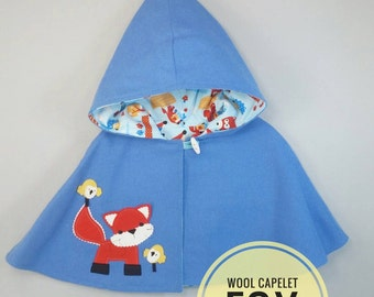 Children Capelet - Cape, Hood, Wool, Girl, Jacket, Handmade, Fox, Blue, Ready to ship