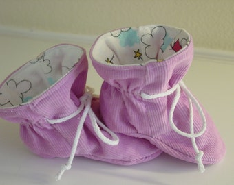 Lilac Corduroy  TV baby booties/soft sole shoes SIZE MEDIUM