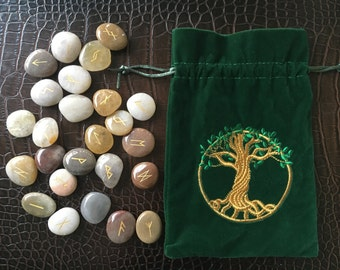 Sale! Ten Dollars Off, Polished River Rock Rune Set, Hand Painted River Rock, Rune Stones, Rune, Rune Set, Tree of Life Bag