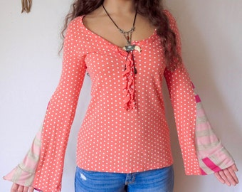 Polka Dot Pink Striped Print Eco Friendly Bell Sleeve Hippie Top Shirt Upcycled Eco Friendly Tee OOAK Tshirt Size Small