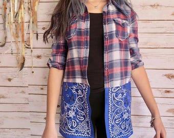Boho Blue Plaid Bandana Hem Button Up Blouse Lagenlook Hippie Boho Upcycled Recycled Shirt OOAK Bohemian Top Blouse Womens Medium