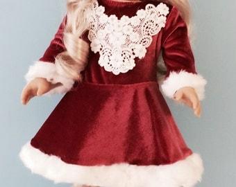 Mauve Velvet Figure Skating Dress with Skates - 18 Inch Doll Clothes