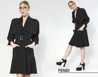 90s FENDI black dolman long sleeve fluttery dress | size small