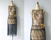 Night Gossamer dress | vintage 1920s dress | black lace 20s dress