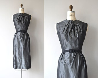 Metallic Twist dress | vintage 1950s cocktail dress | silver metallic 50s dress