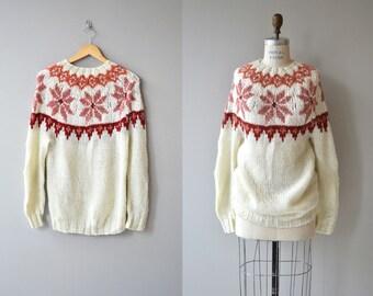 Blushing Snowflake sweater | vintage 1970s sweater | vintage ski sweater