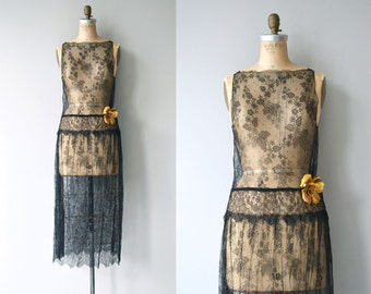 Night Gossamer dress | vintage 1920s dress | black lace 20s dress