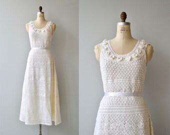 Inner Light crochet wedding gown | vintage 1970s crochet wedding dress | white crochet 70s wedding dress