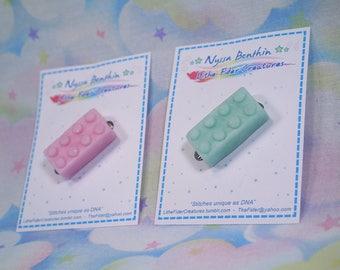 Fairy kei lego brick inspired pins - polymer clay originals