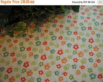 ON SALE Table Runner Floral Green Teal Coral Padded