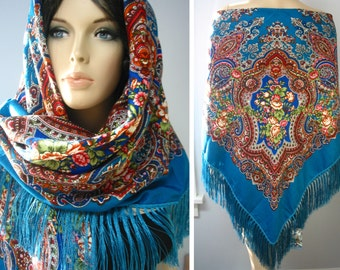 "Russian Wollen Floral Shawl Vintage ""Babushka"" style Sky Blue  #100-7, Shipped from USA,140cm/55"""