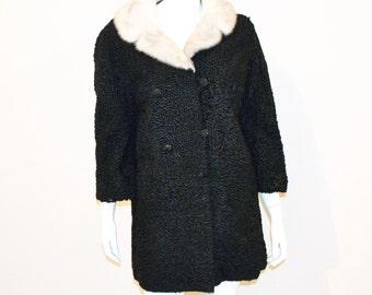 Vintage Coat Persian Fur with Mink Collar 1950's