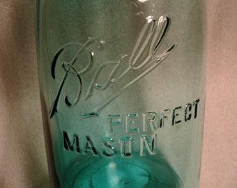 """1/2 Half Gallon Aqua Blue Offset Ball Perfect Mason jar"""" Zinc Lid 2 Quart, 1913-1914"""
