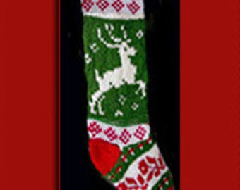 Hand knit Christmas stocking,  Personalized, made of pure wool yarn,  fully lined -- reindeer and flower