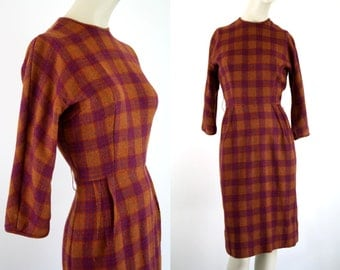 Jonathan Logan Burnt Orange and Maroon Plaid Soft Wool Tailored Knee Length 3/4 Sleeve Woman's Vintage Shift Dress