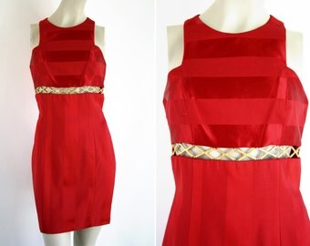 Linda Segal Cherry Red 90's Vintage Mini Skirt Sleeveless Tank Dress with Gold Embellishment Woman's Retro Dress