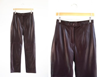 Vintage Sienna Studio Dark Maroon High Waist Relaxed Fit Woman's Retro Leather Pants