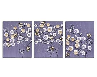 Nursery Decor Purple Flower Painting Art on Three Canvases - Large 50x20