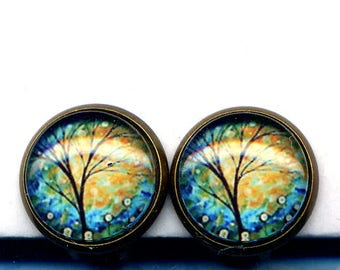 Tree of Life Clip On Earrings , Clip on Earrings Earrings, Clips Earrings, Turquoise Gold Earrings, Clips Earrings by annaart72