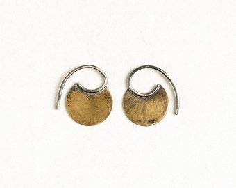 Tiny brass tribal earrings, blade earrings, silver, brass hoops