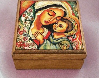 Madonna and Child Blessed Mother box, Virgin Mary and Jesus mother and son motherhood art christian box, jewelry box, 3.5x3.5+