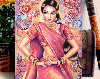 Indian girl, woman, Bollywood dancer, Indian painting, Devika Dance, home decor wall decor woman art, ACEO wood block, BDH