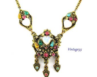Necklace Opaline Glass Heart Pastel Rhinestone