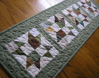 Quilted Table Runner, Patchwork Four Star Runner with a Soft Green Print Border, 12 1/2 x 39 inches