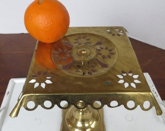Antique Reticulated Brass Cake Stand/Trivet