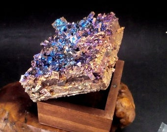 Bismuth Crystal JEWELRY BOX - Unique Crystal Covered Art Container -  Irridescent Peacock Colors  m202