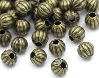 Antique Brass/Bronze - Round Spacer Beads - 100 pieces - #HK1367